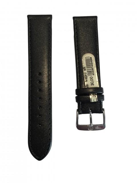 Horlogeband Leer - Zwart met zwart stiksel - 20mm